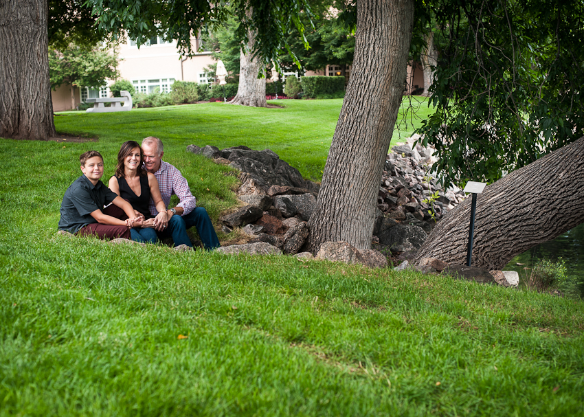 family under a tree at the Broadmoore Resort, color photograph