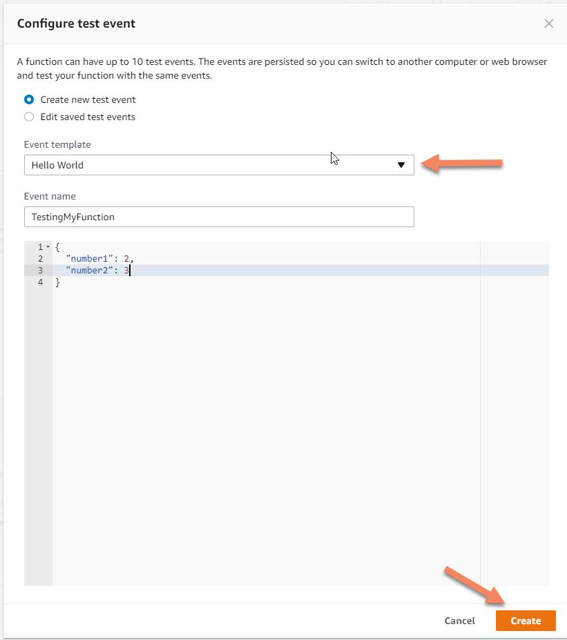 AWS Lambda serverless configure test screenshot