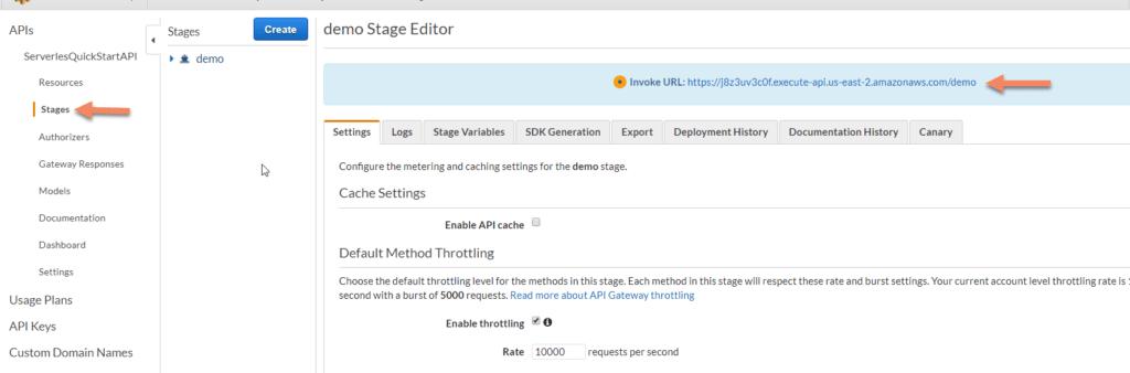 AWS Lambda stages screenshot