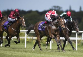 Zibha winning the G3 Amethyst Stakes at Leopardstown