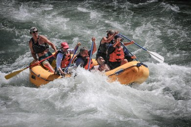 5-man raft in the Big Kahuna rapids on the Snake River, Wyoming
