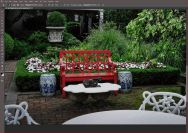 7. Exported into Photoshop and used Clone Stamp to clean up dirty water on table in front of red bench.