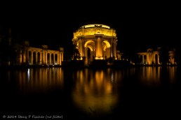Palace of Fine Arts at night, before post-processing