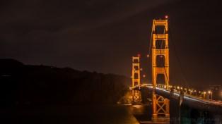 Golden Gate Bridge at night looking northward