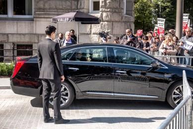 Eric Trump leaves ribbon-cutting ceremony at Trump International Hotel Washington DC
