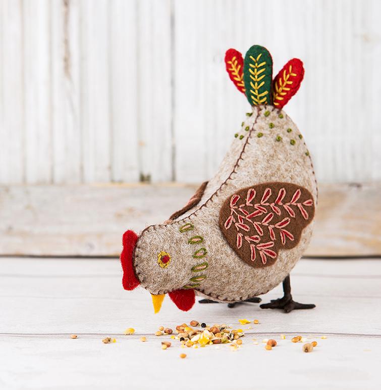 Hen | Folk Embroidered Felt Birds | Stacy Grant Photography