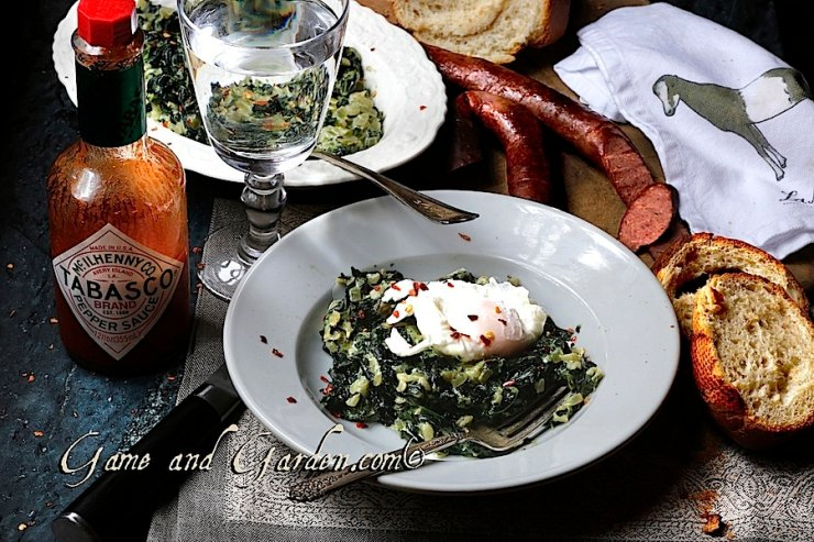 My beloved Creamed Kale Recipe! This dish is absolutely one of the healthiest tastiest dishes ever. I love to serve it with sausage and crusty toasted garlic bread.
