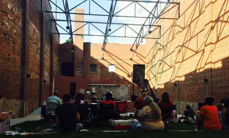 Isn't this architecture beautiful. I love the exposed brick in this open-air theatre and the tiered grass in the courtyard. It is perfect for concerts, speaking events, etc. It was a privilege to speak here about SLOW FOODS!
