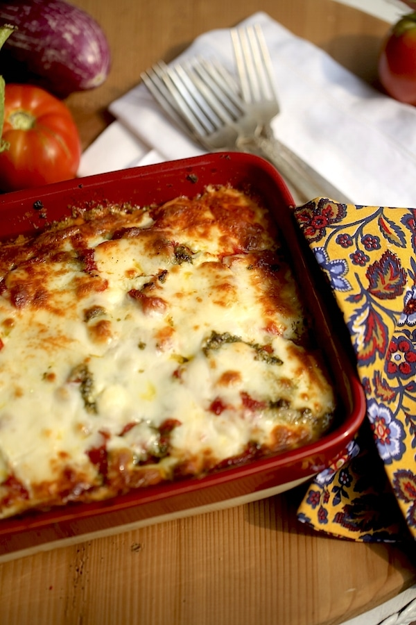 How can a one-pot-meal taste so fantastically! Fresh ingredients. It's that easy and simple!! Eggplant Lasagna is a great way to show off summer's tastes.