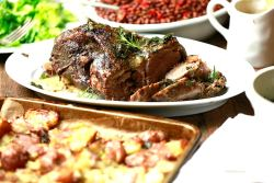 Roasted Lamb with Roasted Potatoes and Garlic
