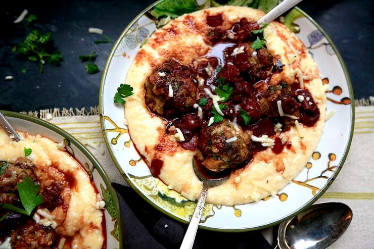 My favorite all-purpose meatball made of venison and pork is perfect with wine sauce over polenta!! Love! gameandgarden.com