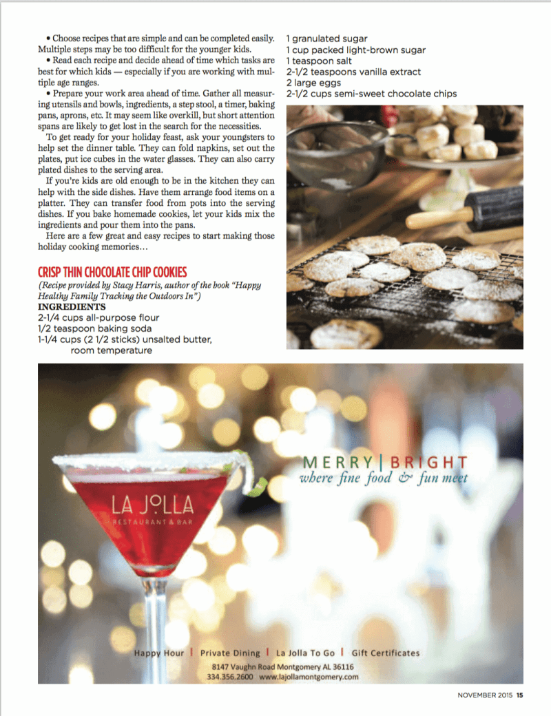Stacy Harris - River Region Magazine - Cookie Recipe; This is Stacy Lyn's favorite crispy chocolate chip cookie recipe.