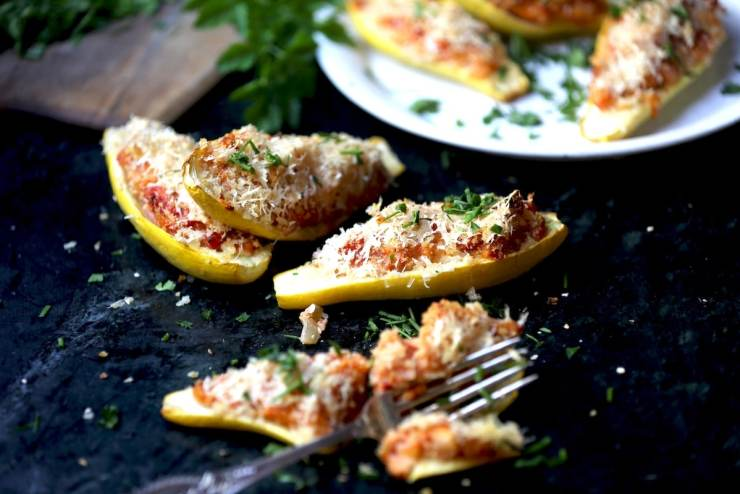 Squash Boats are incredibly healthy and versatile. You can make them Italian by adding Marinara Sauce or Indian by using Indian Spices. This is the perfect food for all cultures!