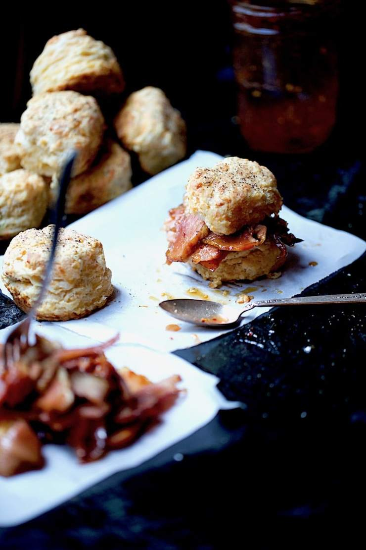 Savory Cheesy Dill Biscuit with Glazed Ham and Pepper Jelly