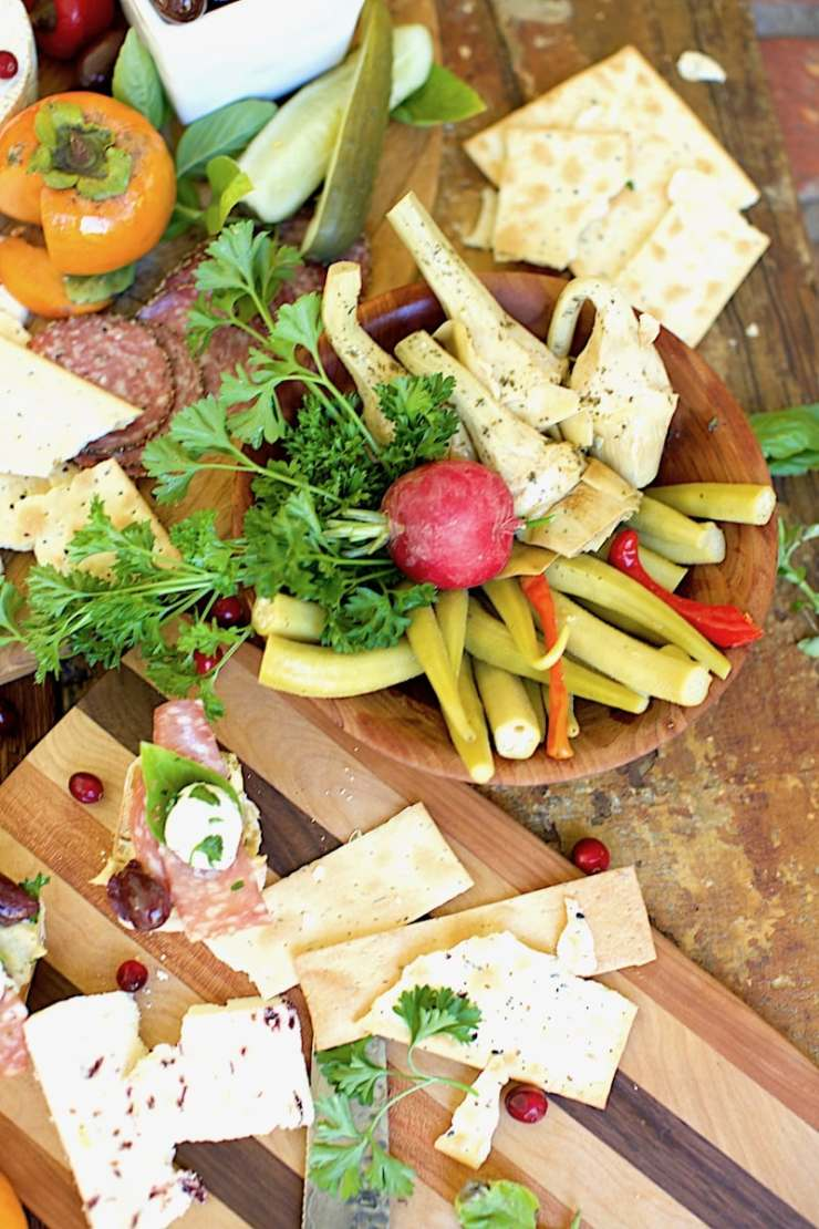 I love to add a few Southern Foods (Pickled Okra, Pickled Peppers, Red Pepper Jelly, Persimmmon Jelly, and the list goes on) to my Antipasto Appetizer.