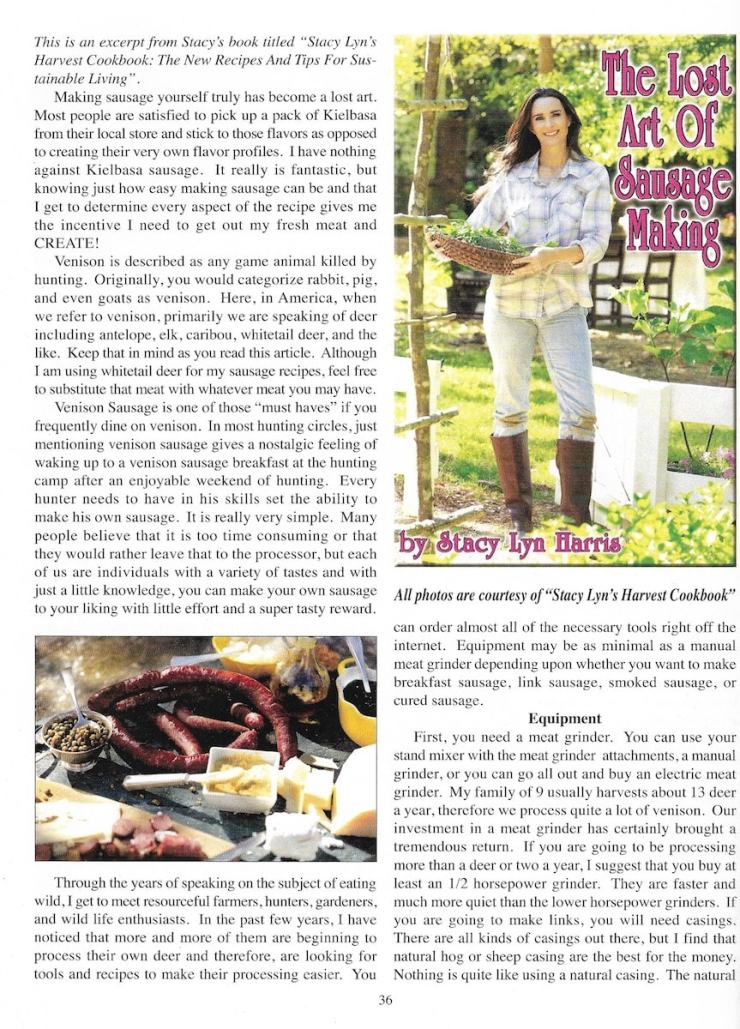 Stacy Lyn Harris featured in Backwoodsman Magazine. She gives tips for making homemade sausage courtesy of her latest book, Stacy Lyn's Harvest Cookbook.
