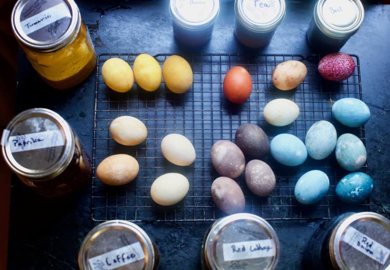 Easter eggs dyed using natural ingredients