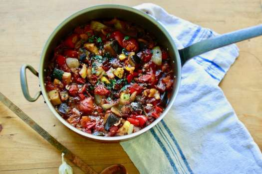 Bowl of ratatouille made from fresh summer vegetables harvested from the garden