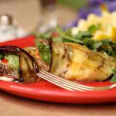 Venizon and mozzarella cheese wrapped with a grilled eggplant