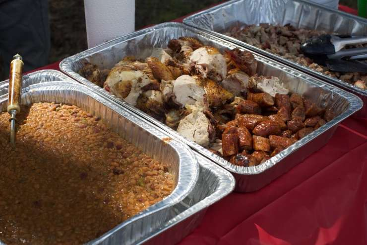 The food spread at the dove hunt