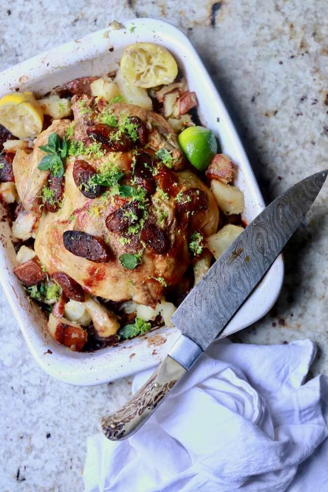 roasted chicken and sausage with gremolata recipe by Stacy Lyn Harris