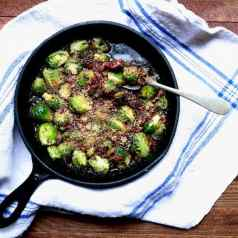 Oven roasted brussels sprouts with beer-glazed bacon topping, recipe by stacy lyn harris
