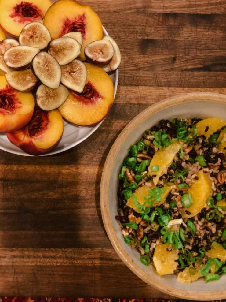 Peaches, Figs and a Wild Rice with Oranges Salad