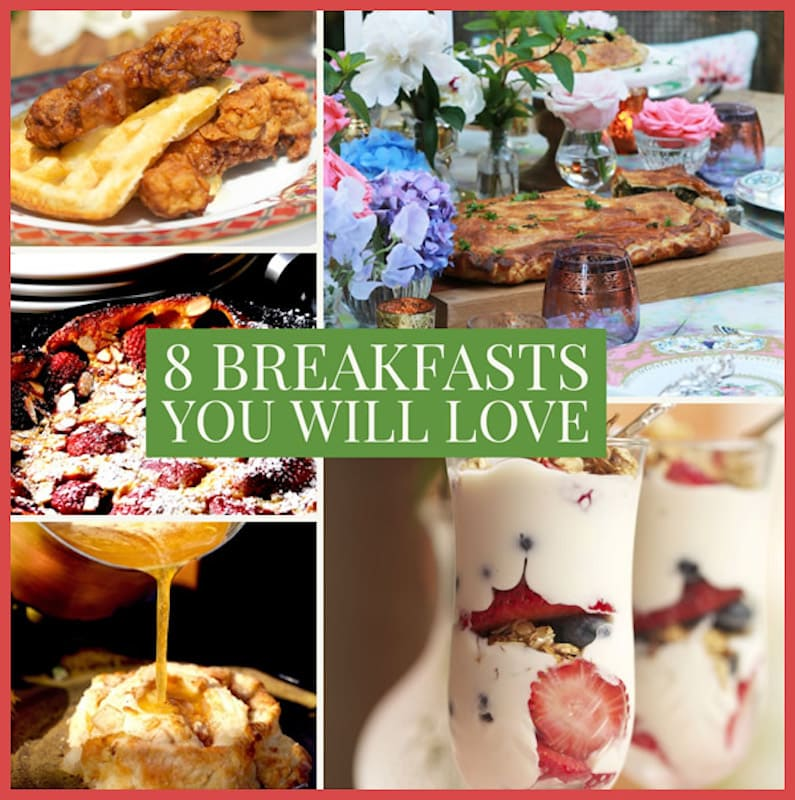 Photo of 5 beautiful breakfast dishes including rabbit and waffles, yogurt parfait, kale pastry, butter syrup pouring over an apple biscuit and more