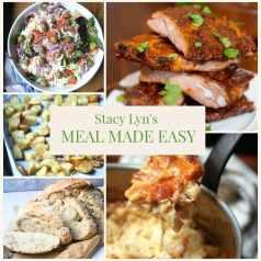 BBQ Ribs, Crawfish Mac and Cheese, Salad, Croutons, and Bread