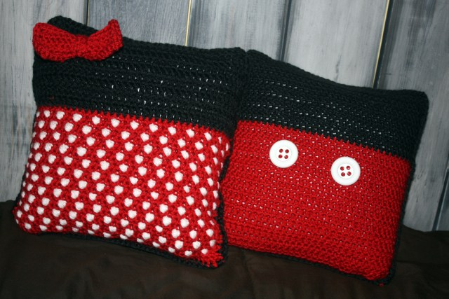 Free Pattern Disney Inspired Crochet Throw Pillow Minnie Mouse