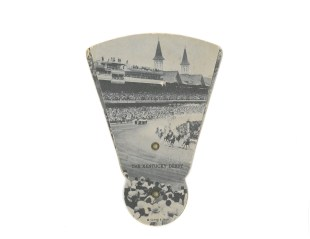 We picked up this gem of a card at Big Don's Collectibles in Strasburg, PA. The hand fan/postcard combo features a full-bleed image of Churchill Downs grandstand which hugs the north and west sides of the 1-1/4 mile track (Photo: Stadiafile)