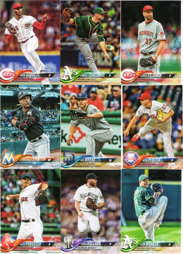 Nine cards from 2018 Topps Series 1