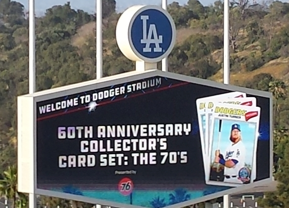 Dodger Stadium Scoreboard promoting 60th Anniversary cards