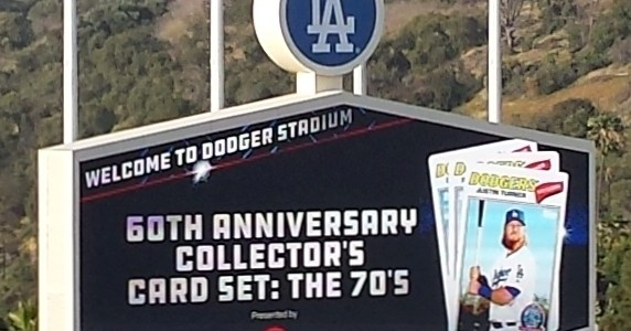 Dodger Stadium Scoreboard promoting 60th Anniversary cards