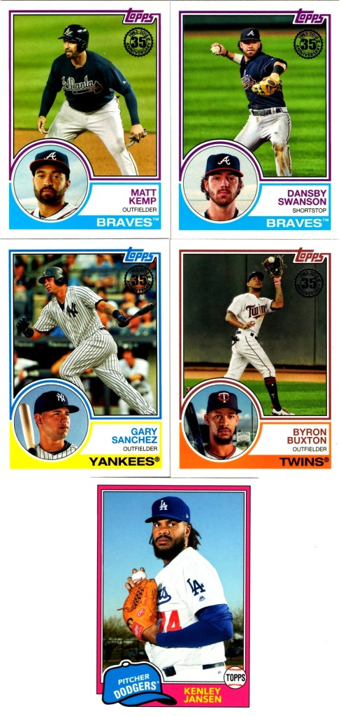 2018 Topps 1983 insert cards 83-38, 83-46, 83-74, 83-77 and 2018 Topps Archives 214