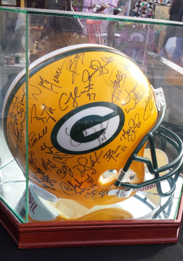 Autographed Green Bay Packers helmet - right side