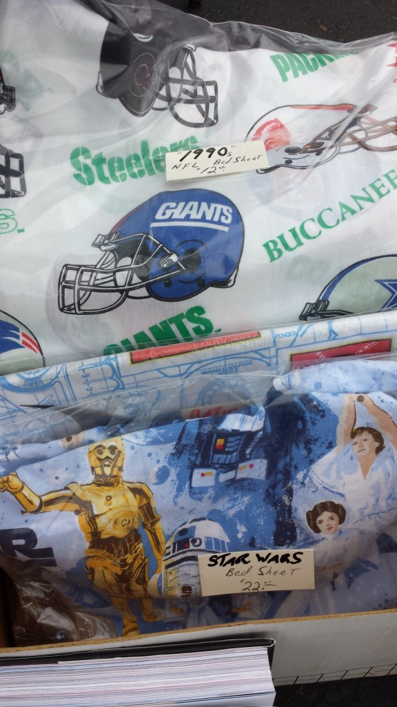 NFL bedsheets and Star Wars bedsheets!