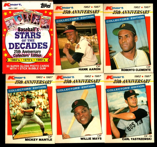 1987 Topps K-Mart Stars of the Decades: Box front and assorted cards