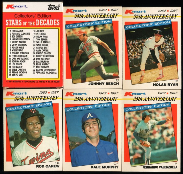 1987 Topps K-Mart Stars of the Decades: Box back and assorted cards