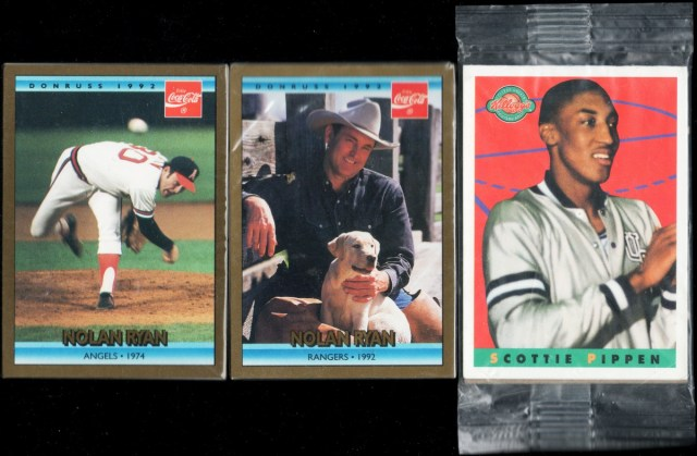 1992 Donruss Coca-Cola Nolan Ryan #8 & #26, 1993 Star Pics Kellogg's College Greats Postercards #SCPI Scottie Pippen