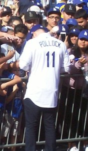 New Dodgers OF A.J. Pollock signing autographs at Dodgers Fan Fest