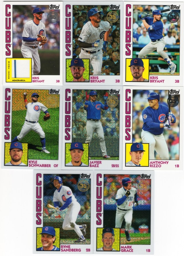 2019 Topps Series 1 1984 Cubs inserts/chrome and a Cubs relic