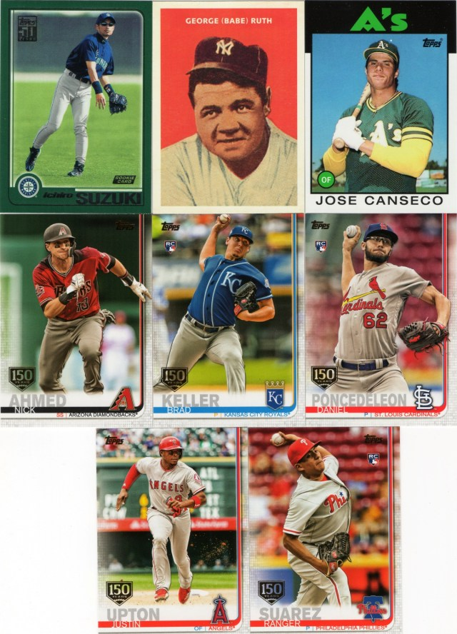 A sampling of 2019 Topps inserts and foil-stamp parallels