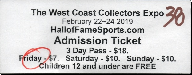 2019 West Coast Collectors Expo admission ticket