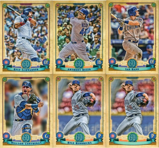 2019 Topps Gypsy Queen Cubs base cards and a missing nameplate variation