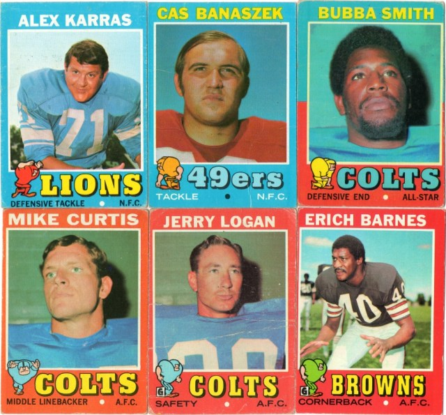 1971 Topps football cards #'s 41,52, 53, 80, 134, 168