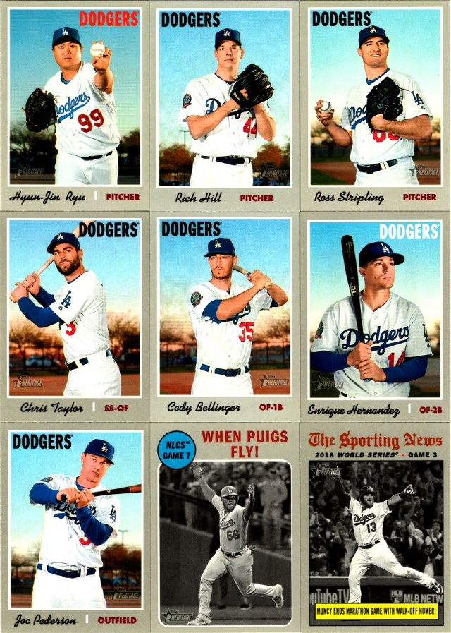 Assorted 2019 Topps Heritage Dodgers base cards