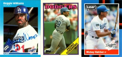 1987 Fleer #460 (IP autographed!), 1988 Topps #550, 1988 Leaf #122