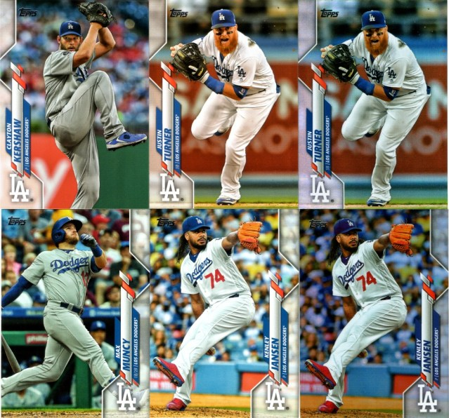 2020 Topps Series 1 Dodgers with a couple of rainbow foil parallels