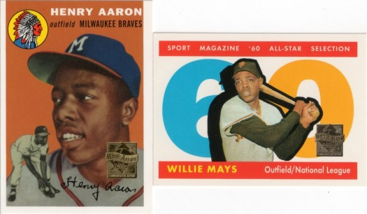 2000 Topps Hank Aaron Reprints #1 and 1997 Topps Willie Mays Reprints #13